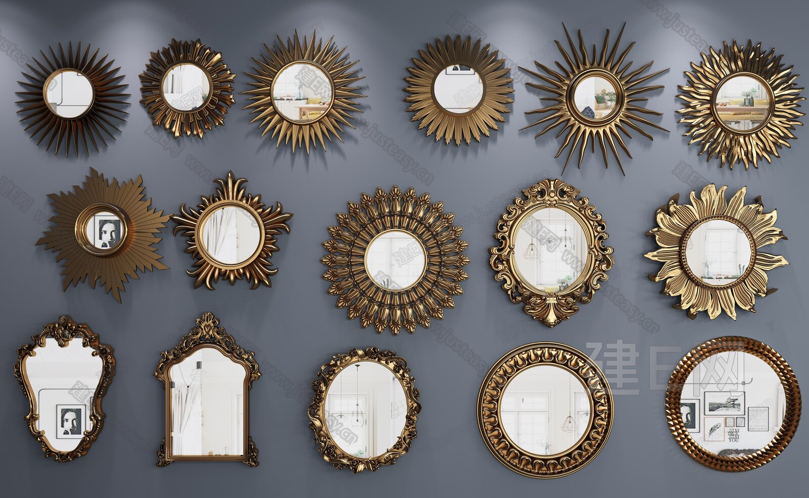 欧式太阳镜装饰镜子组合[模型id:187325]