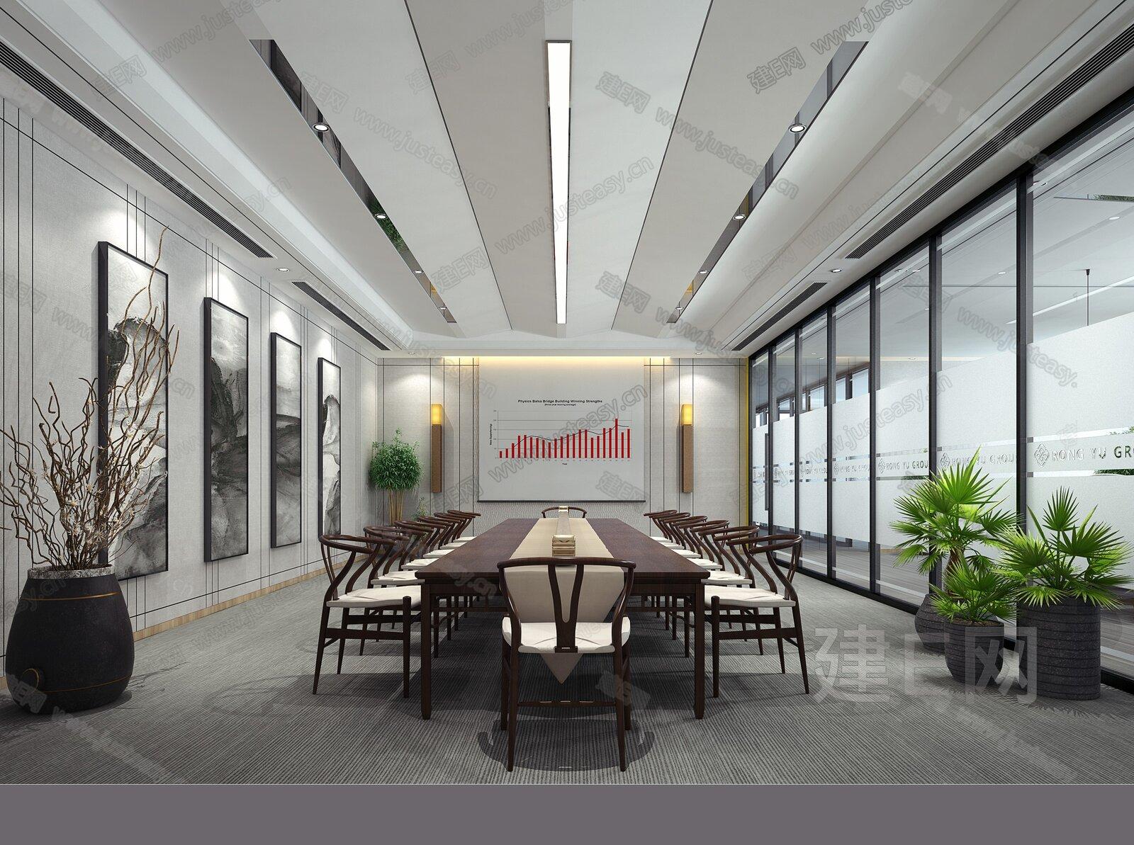 新中式会议室- 建e网3d模型分享交流平台-3d模型下载