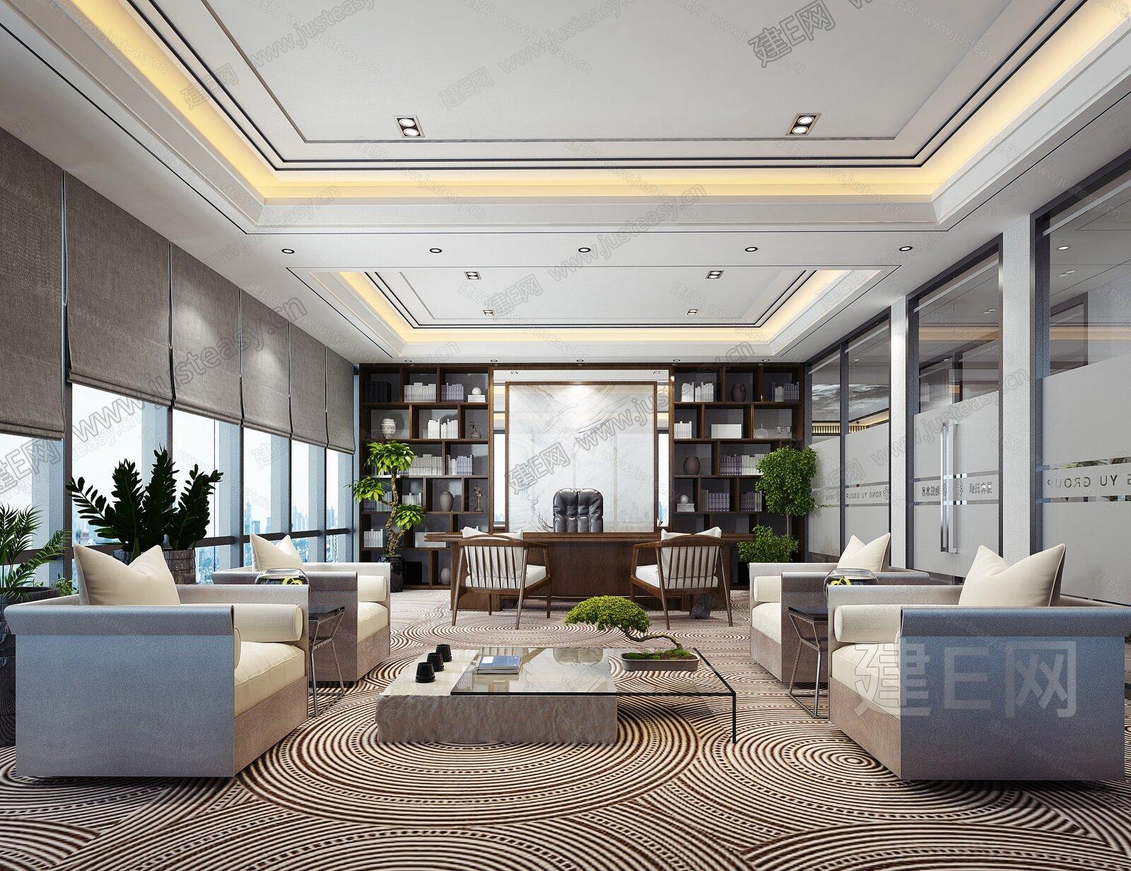 新中式董事长办公室3d模型