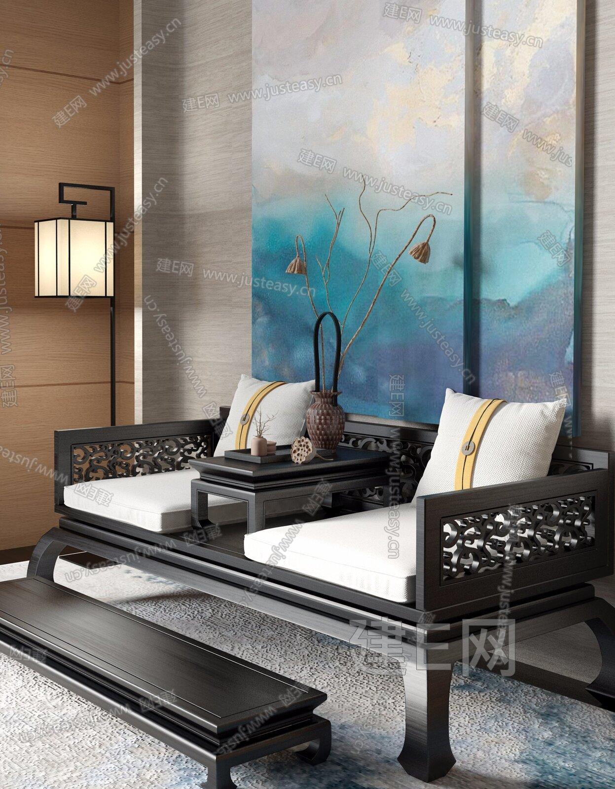 新中式沙发[模型id:194790]