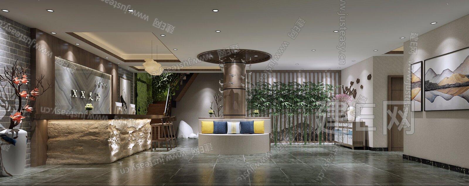 新中式足浴大厅[模型id:198385]图片