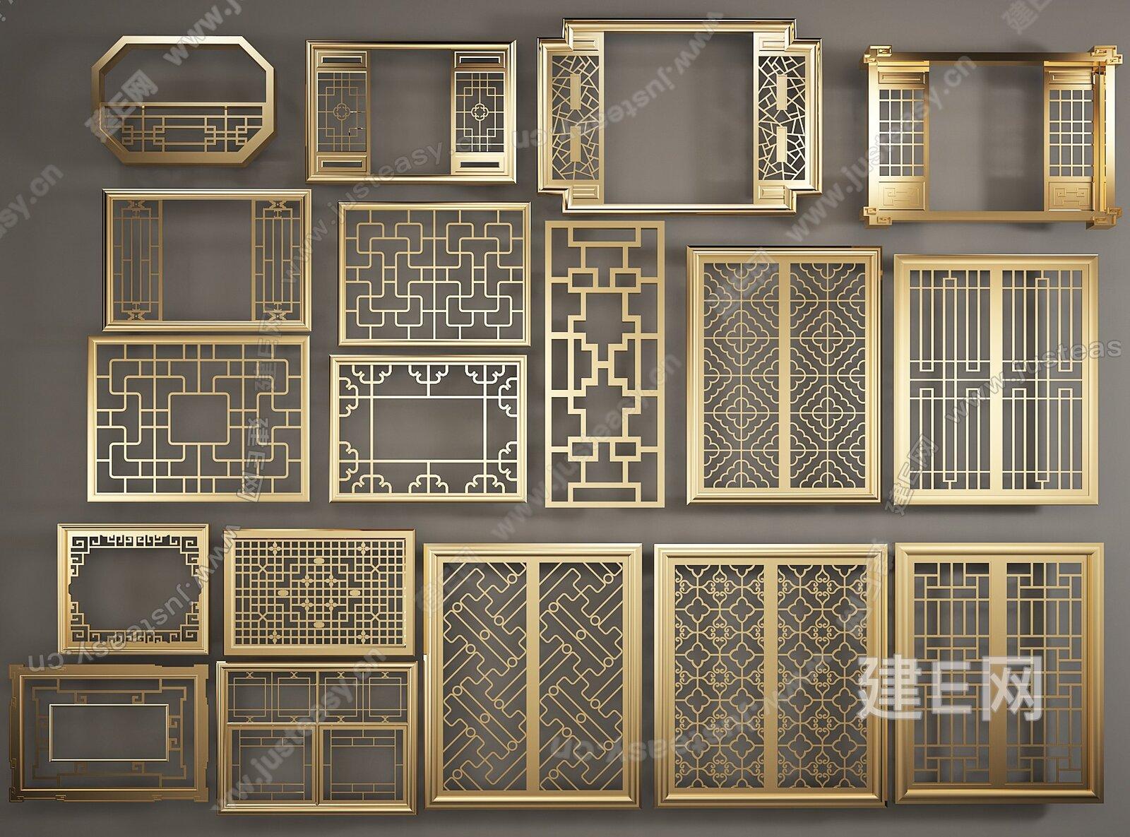 中式窗花隔断/屏风构件五金模型-3d模型分享交流平台