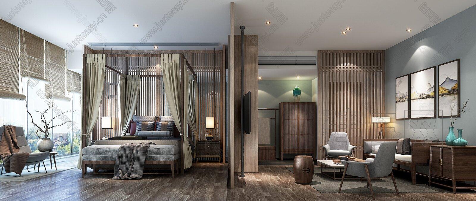 新中式客房套间3d模型