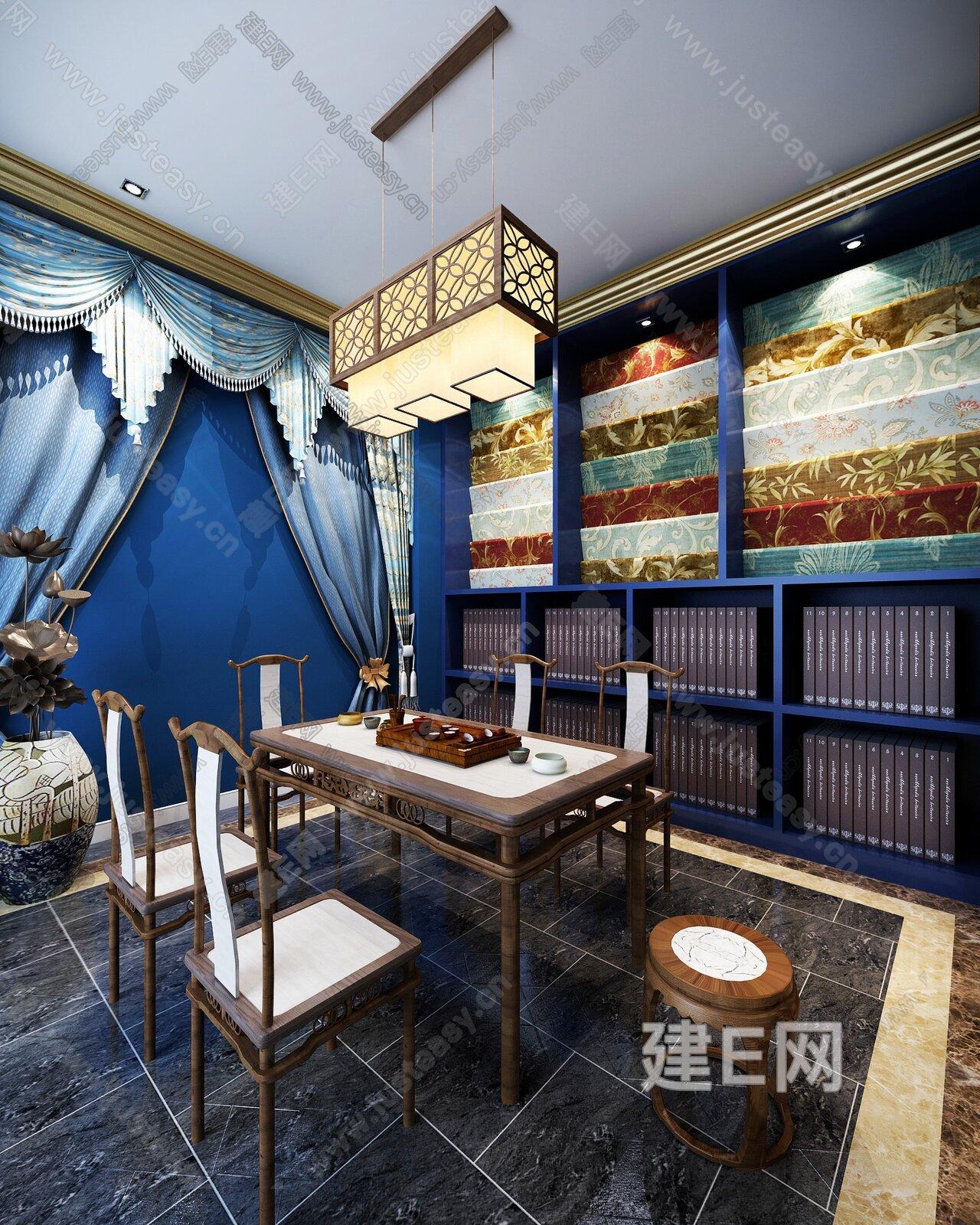 新中式窗帘店面[模型id:206739]图片
