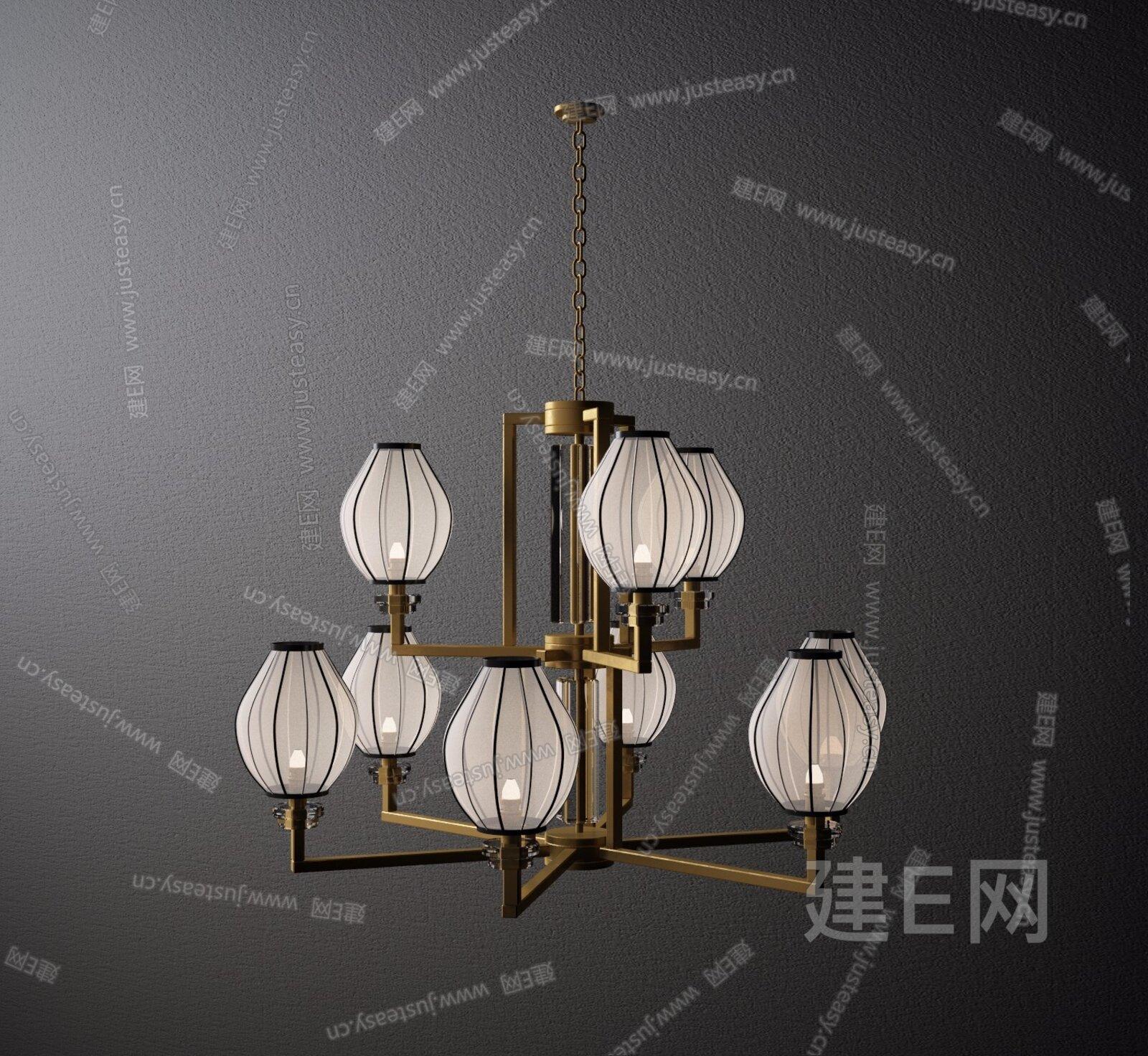 新中式现代吊灯3d模型