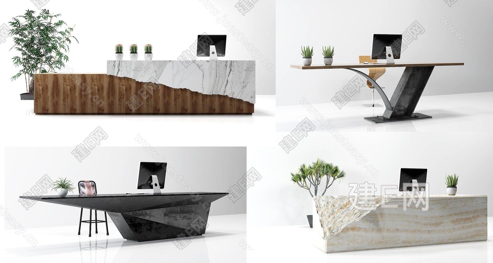 模型 桌几 接待台 个性收银吧台服务台组合[模型id:211504]图片
