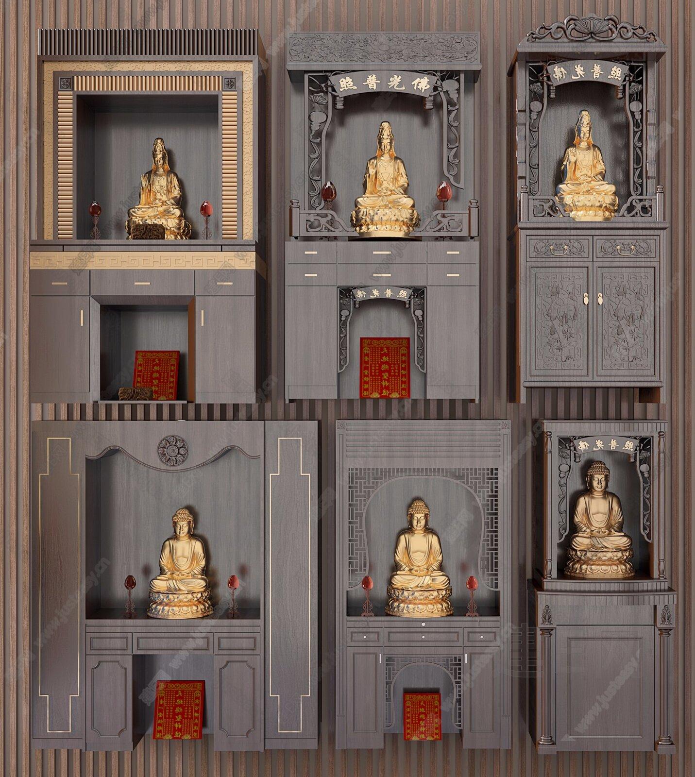 新中式佛龛3d模型图片