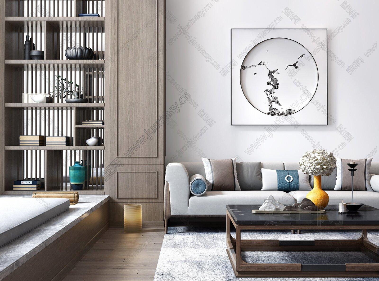 新中式双人沙发茶具书柜组合3d模型
