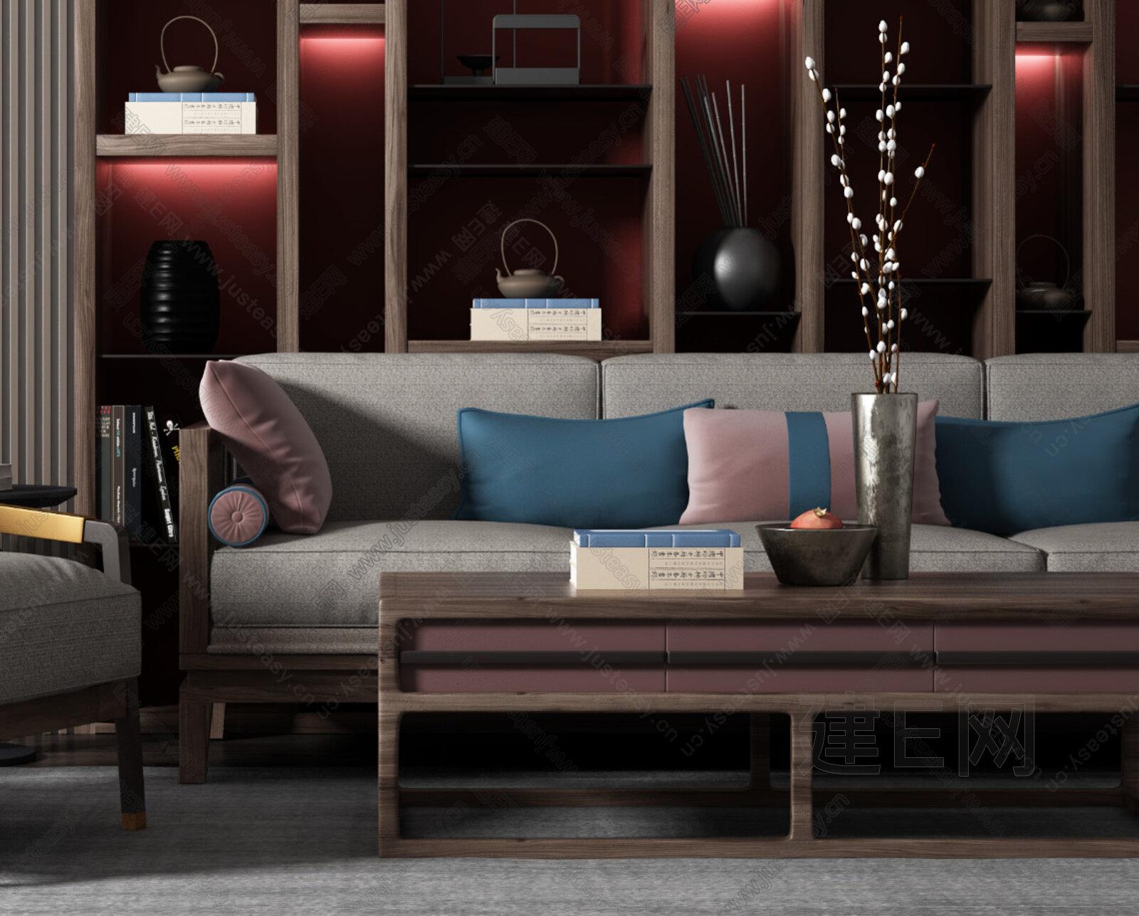 新中式沙发椅子茶几组合3d模型图片
