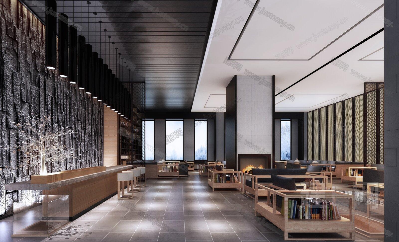 新中式酒店大堂3d模型图片