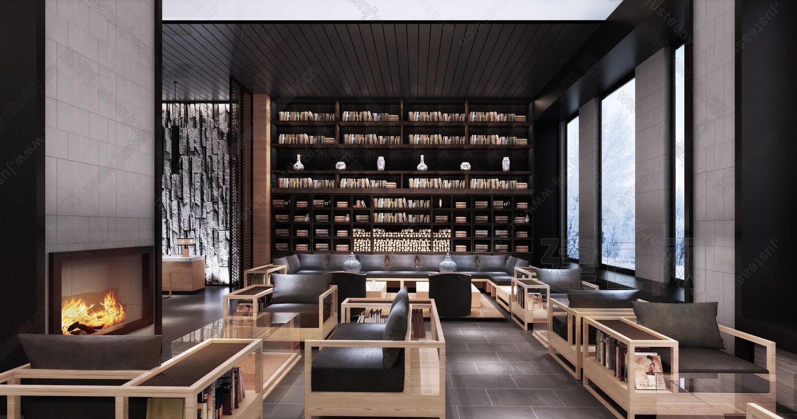 新中式酒店大堂3d模型