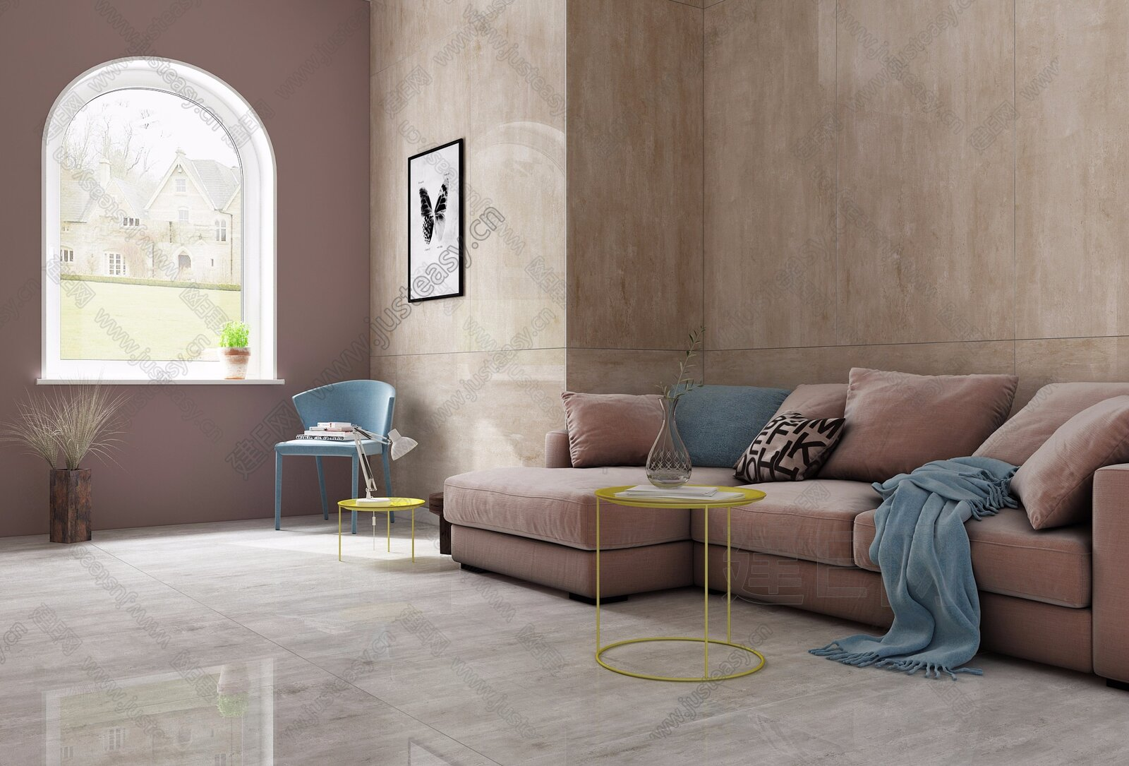 北欧多人沙发3d模型图片