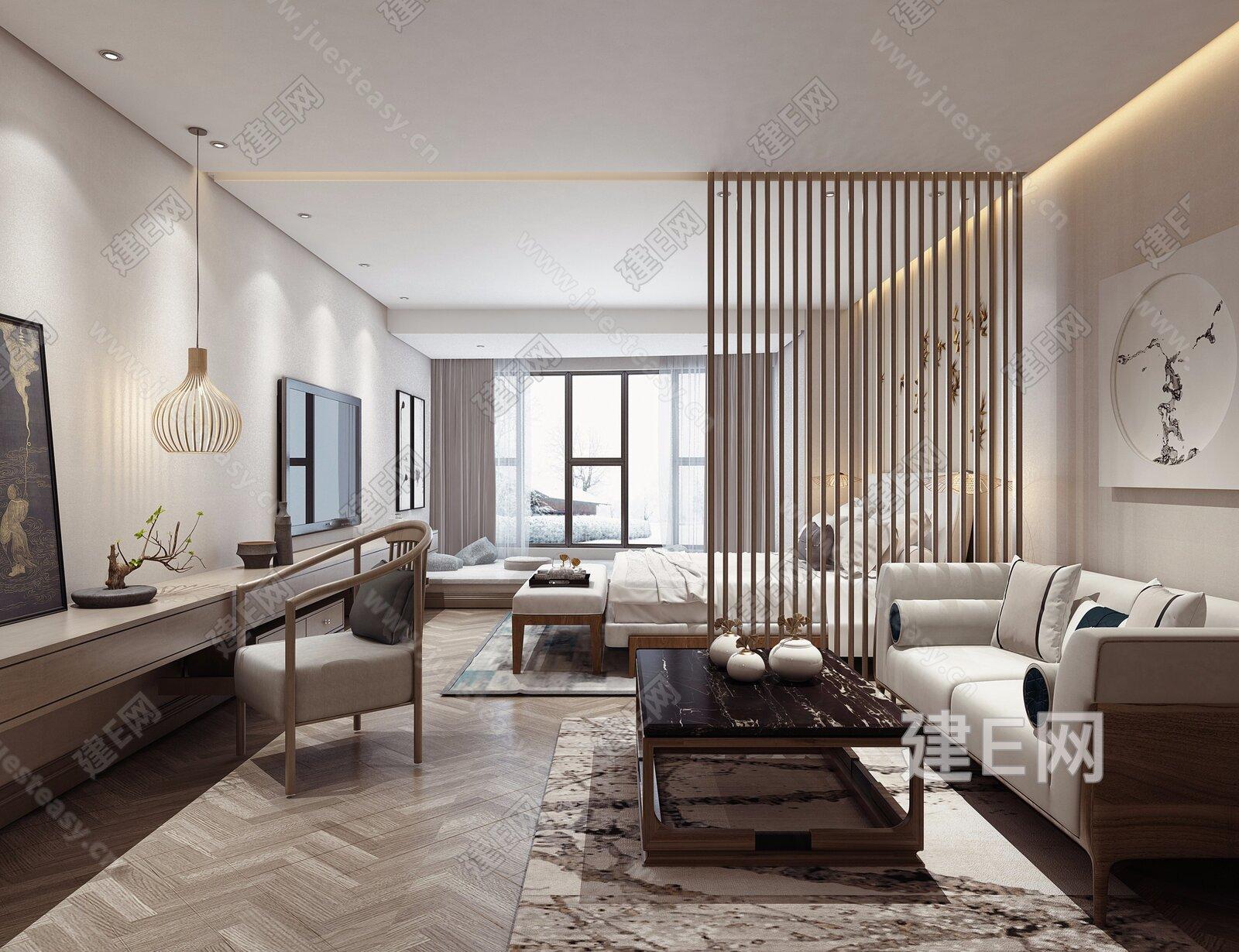 新中式酒店客房3d模型