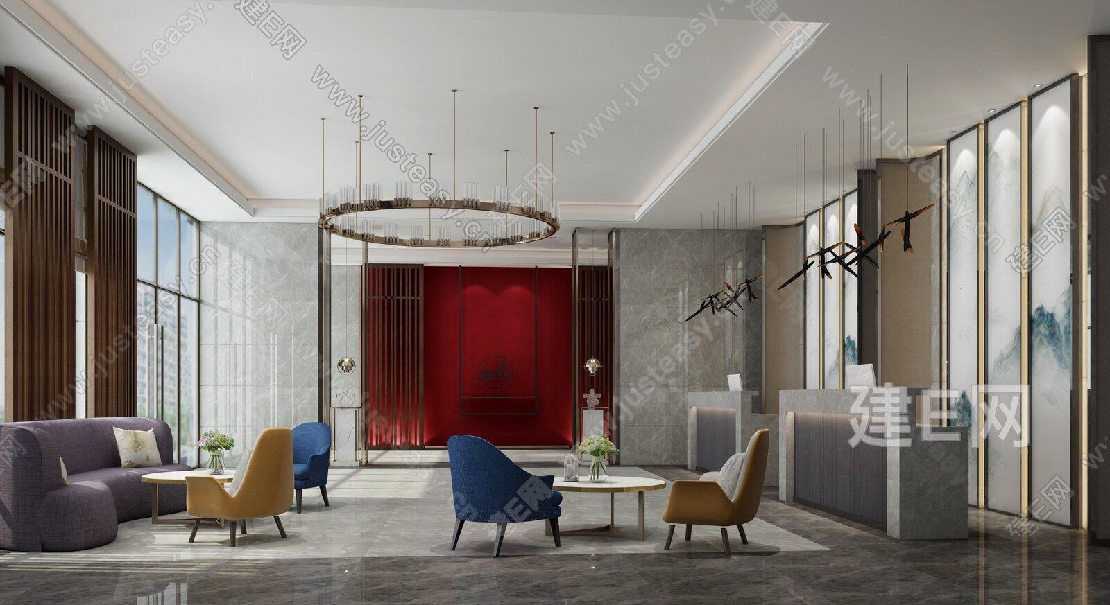 新中式酒店大堂过道3d模型图片