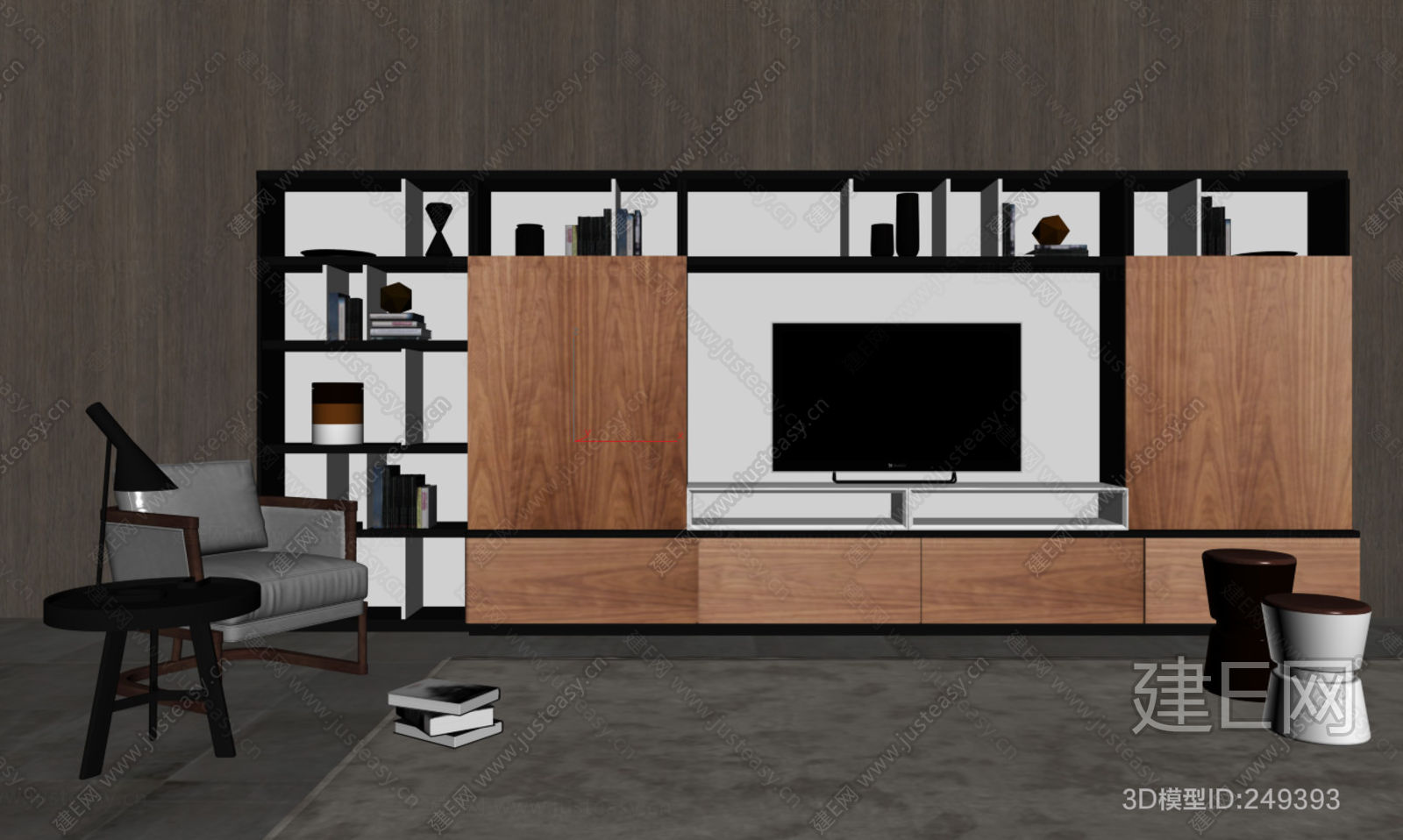 hc28新中式休闲椅电视柜3d模型