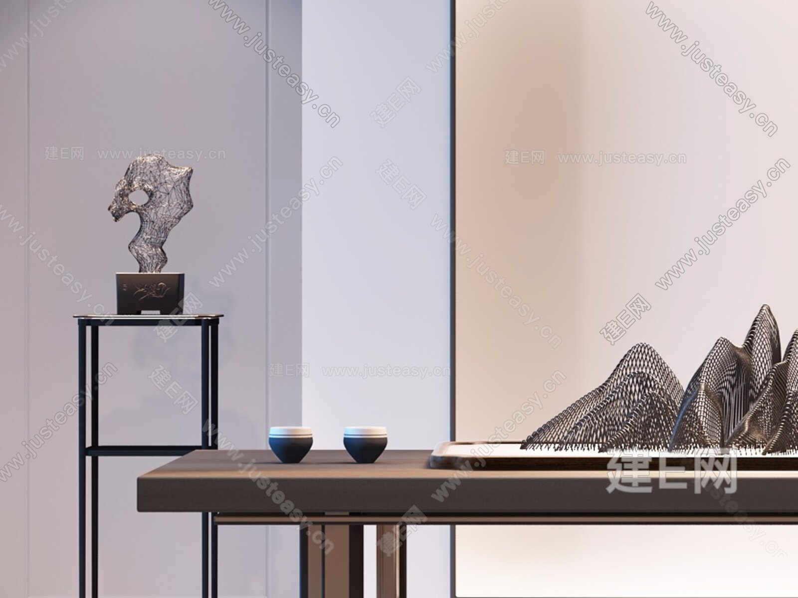 新中式铁艺假山摆件3d模型图片