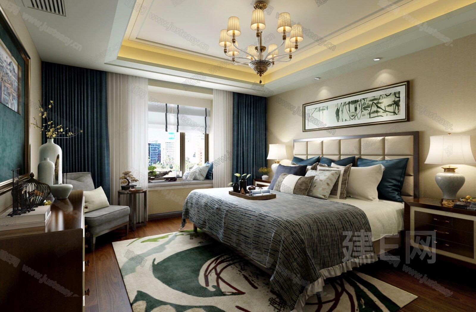极尚装饰设计 新中式卧室3d模型