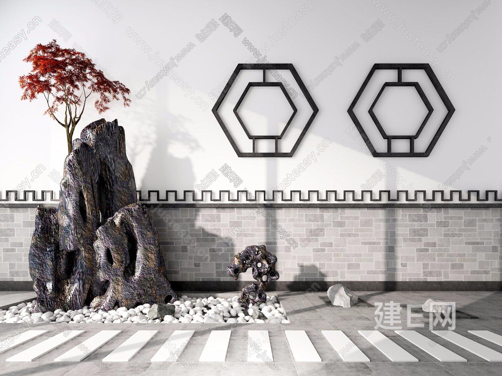 新中式假山石头窗户鹅软石[模型id:271398]图片