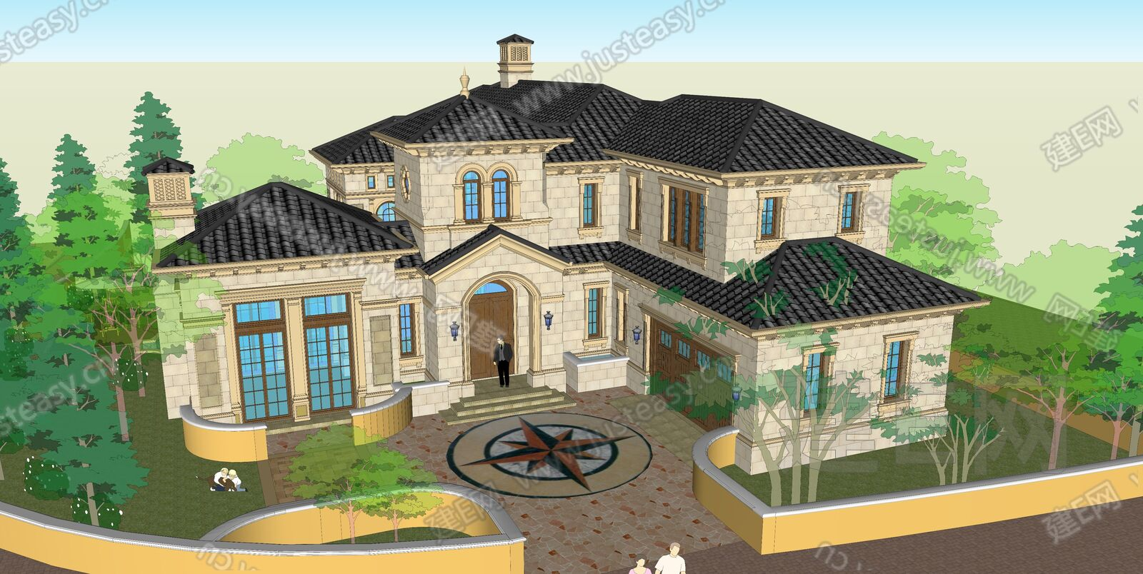 欧式别墅sketchup模型
