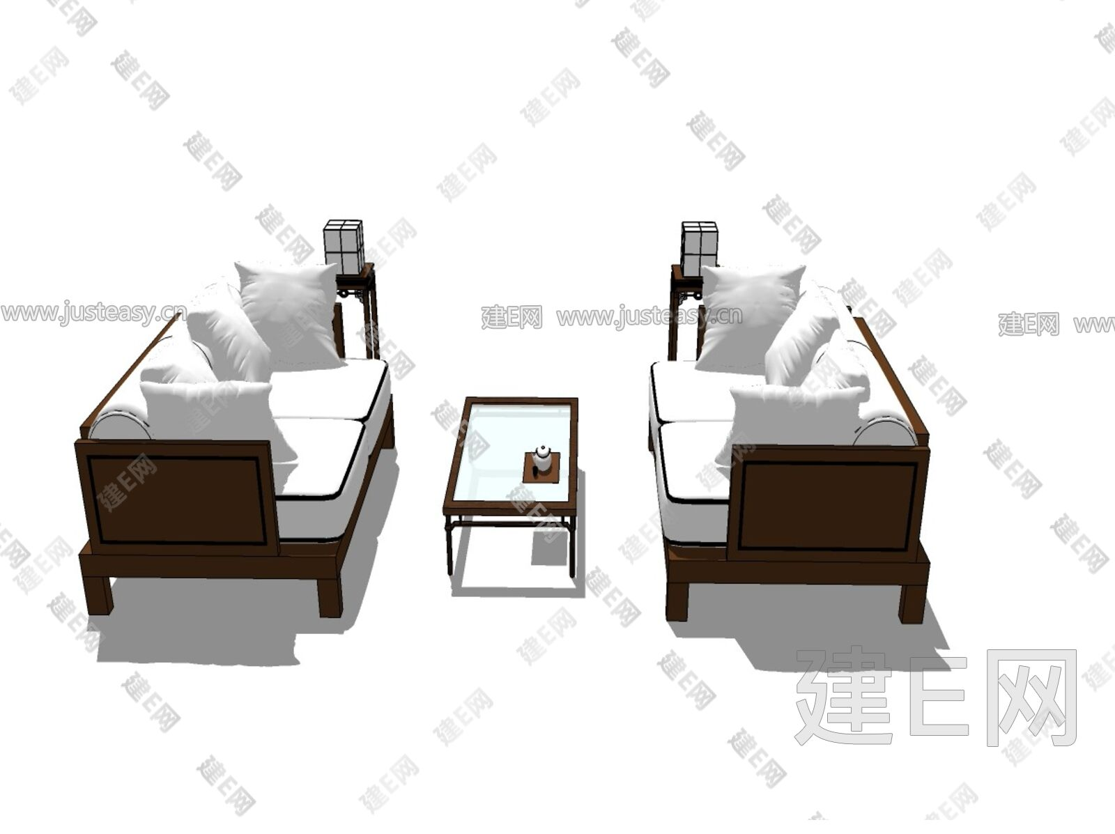 新中式沙发组合[模型id:3018]