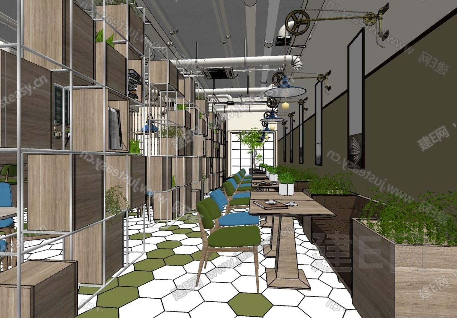 su模型首頁 室內 工裝 工業風咖啡廳西餐廳[模型id:5764]