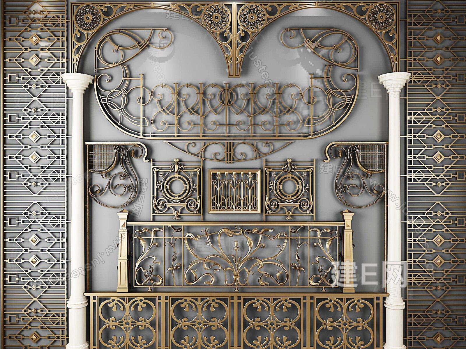 欧式古典铁艺栏杆雕花雕刻[模型id:310889]图片