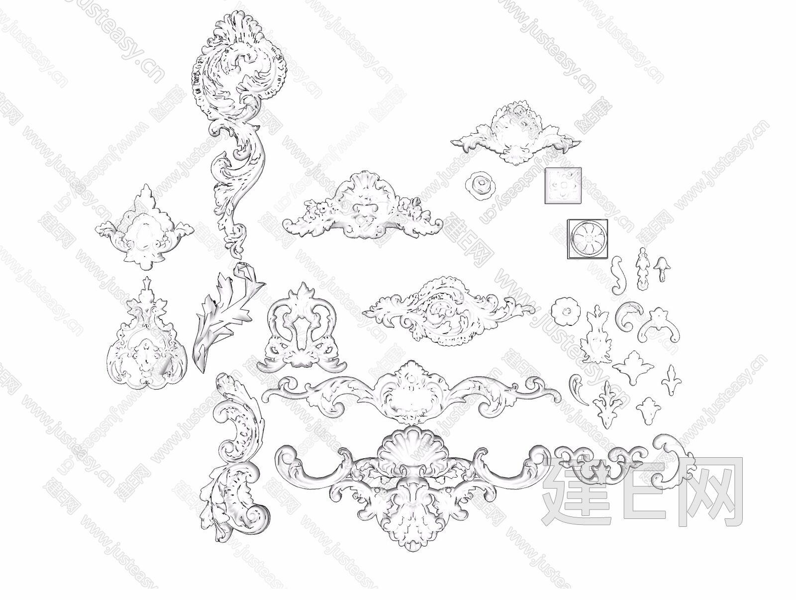 欧式大理石雕花构建[模型id:19745]