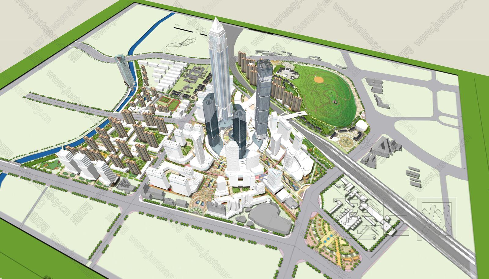 现代城市建筑sketchup模型