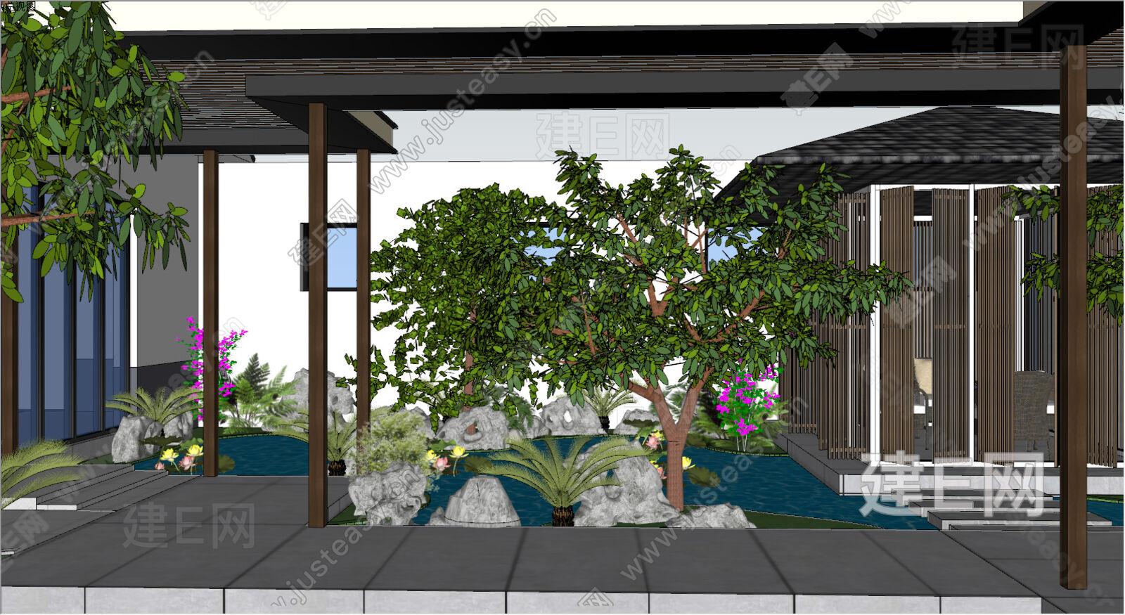 新中式园林庭院景观sketchup模型