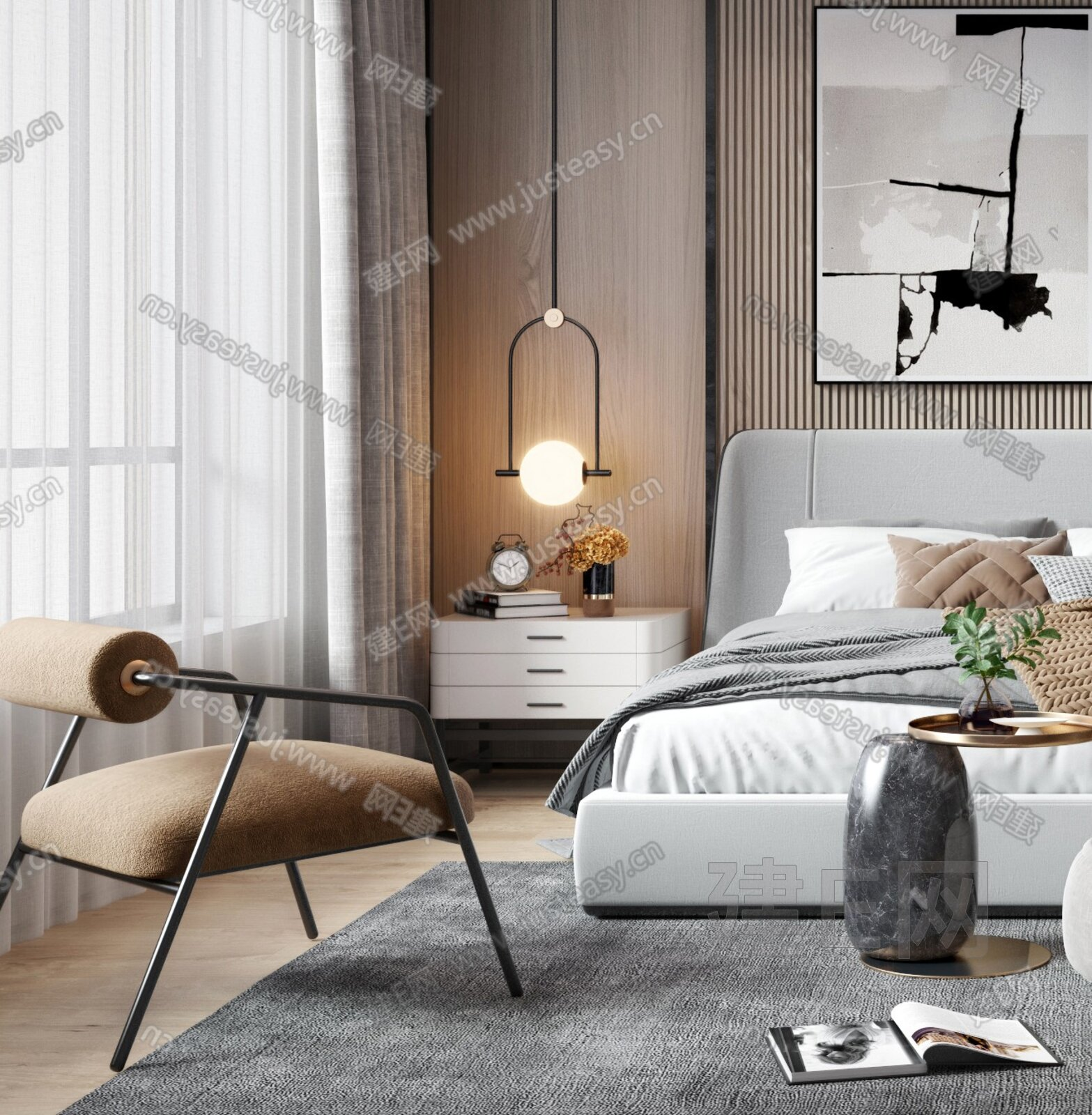 現代輕奢臥室3d模型