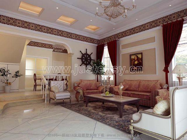 新古典欧式别墅客厅餐厅3d模型下载[id:9273]