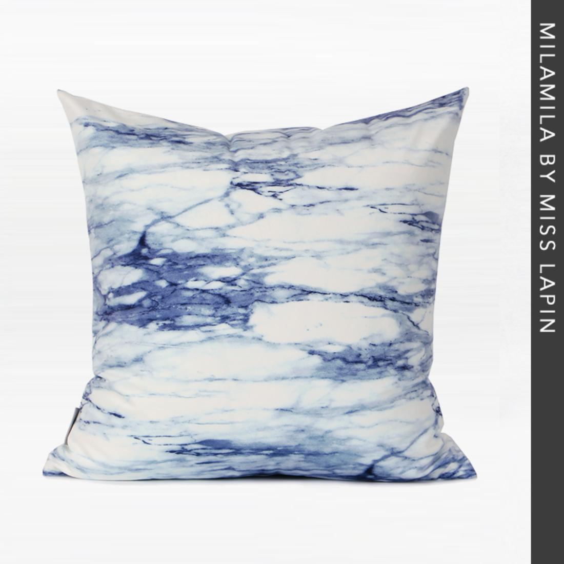 澜品简约现代/布艺靠包靠垫抱枕/蓝色抽象油画水彩数码印花方枕