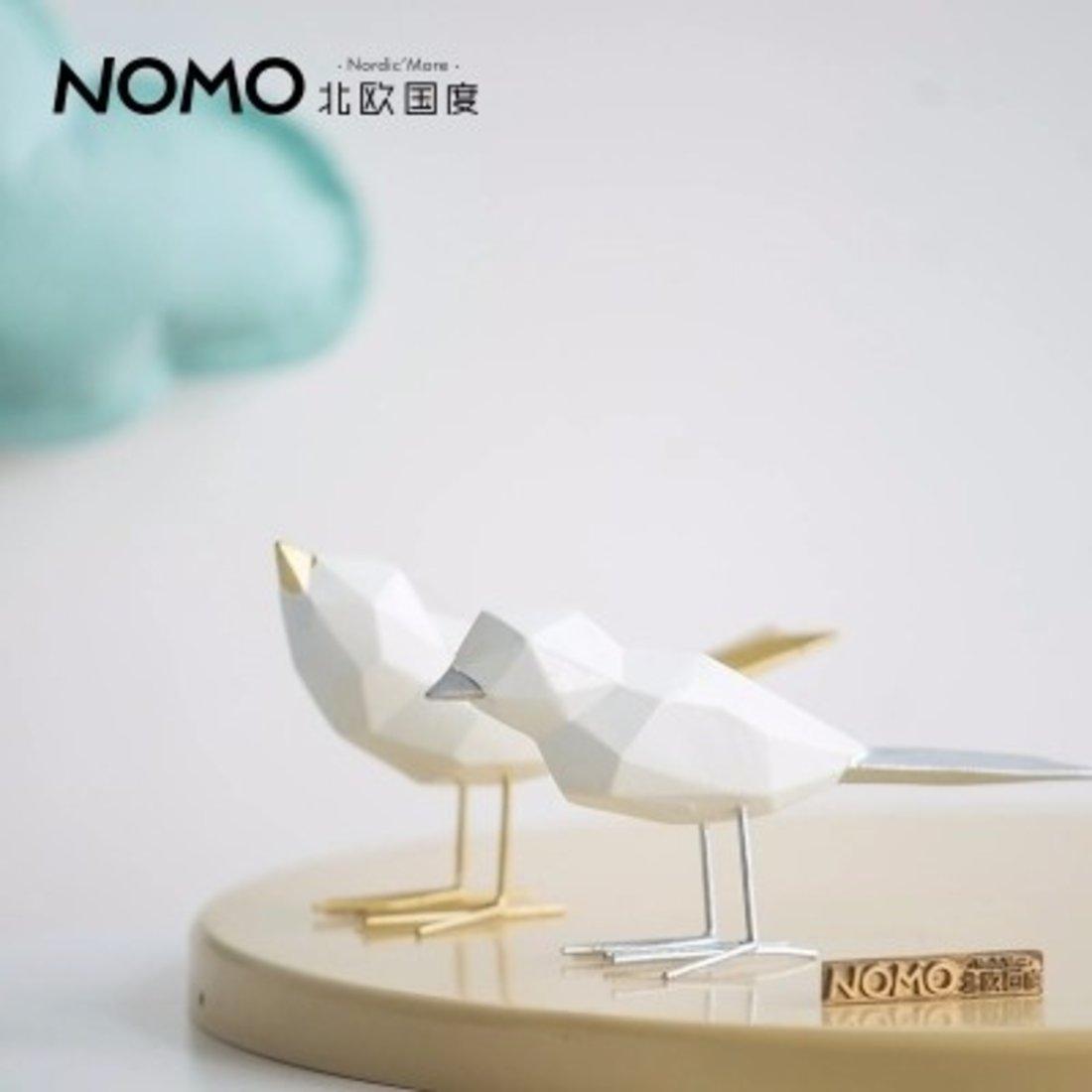 德玛克典雅灰调几何折纸动物-恩爱小鸟 树脂摆件装饰品