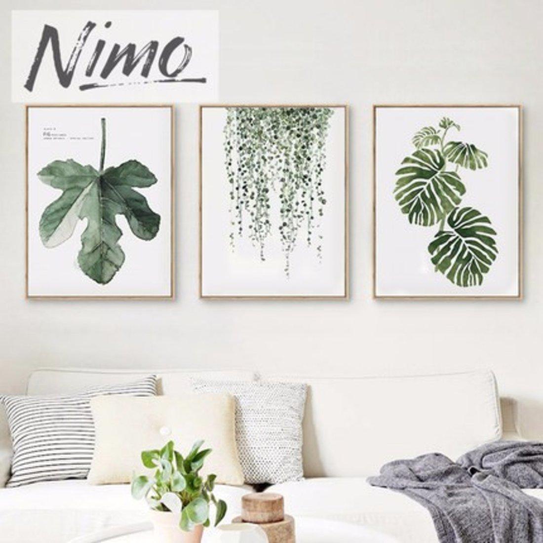 Nimo尼摩 北欧简约沙发背景墙画客厅饰画卧室餐厅壁画小清新绿植
