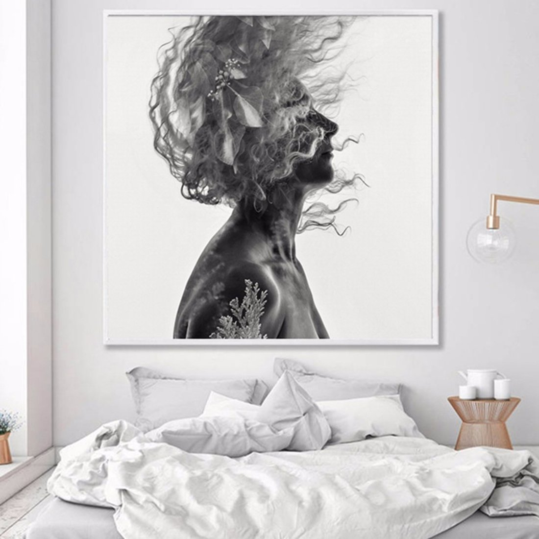 黑白人物装饰画抽象画 现代简约