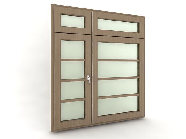 现代门窗及门把手3d模型下载