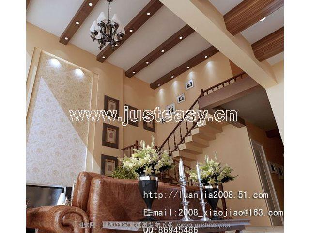 欧式美式乡村别墅客厅餐厅3d模型下载[id:24647]