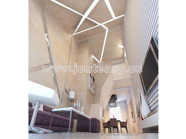 现代简约复式客厅餐厅楼梯[模型id:28012]