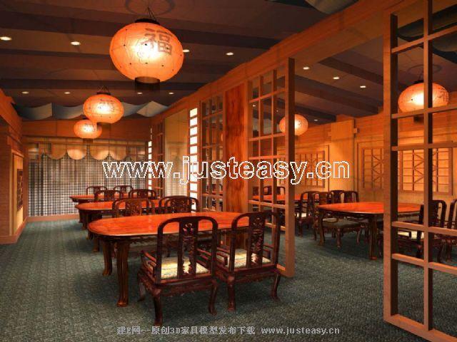 中式餐厅3d模型免费下载_建e模型网_建e网_室内设计