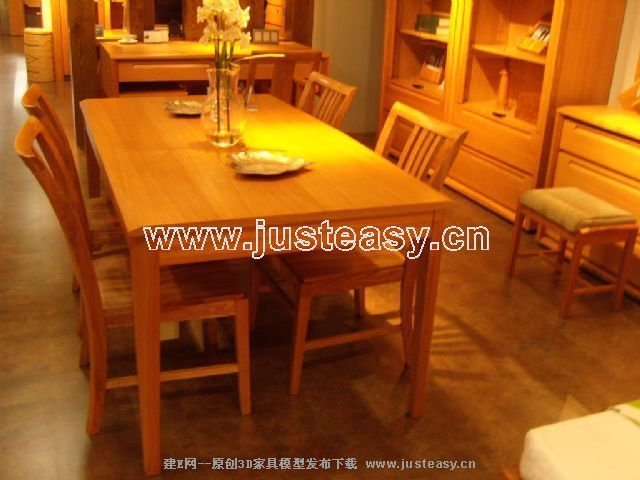 原木家具餐桌餐椅[模型id:21791]
