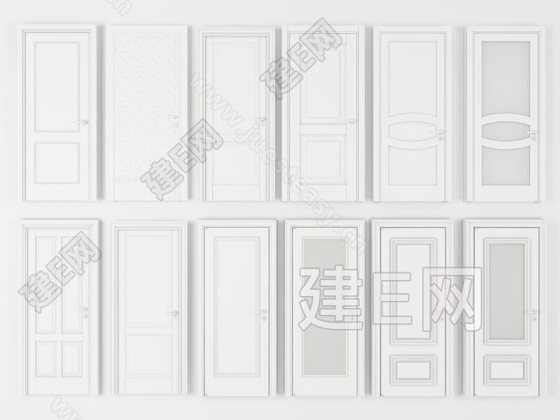 现代实木复合门组合3d模型