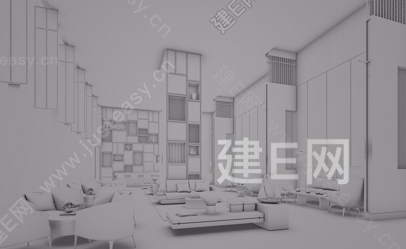 新中式酒店大堂吧3d模型