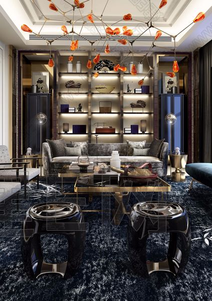 C&C壹挚设计 华标峰湖御园·山居墅新中式客厅3d模型