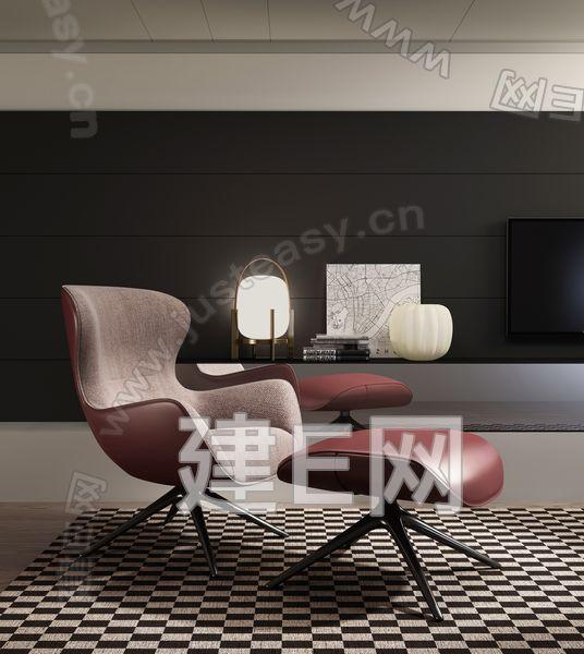 意大利 Poliform单人休闲沙发椅沙发凳台灯