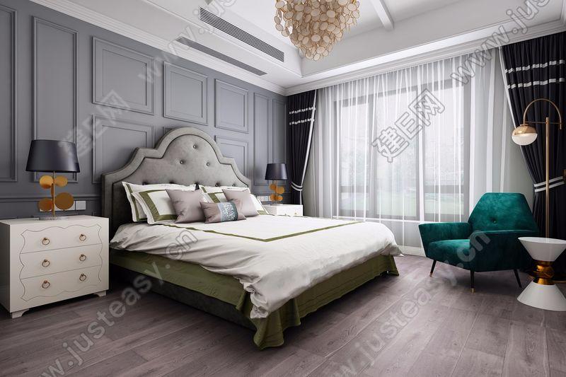 现代法式卧室3d模型