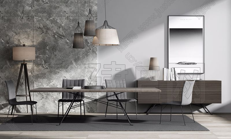 意大利简约餐桌椅组合3d模型