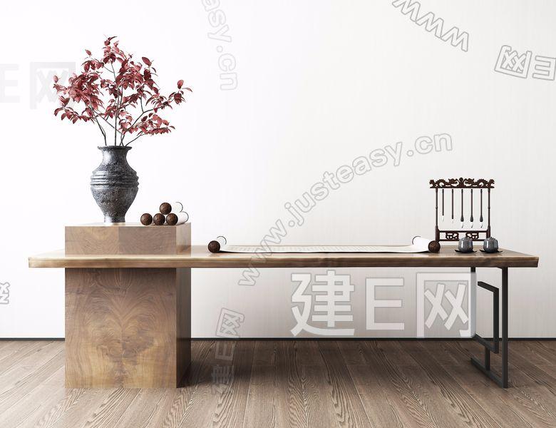 新中式书画桌3d模型
