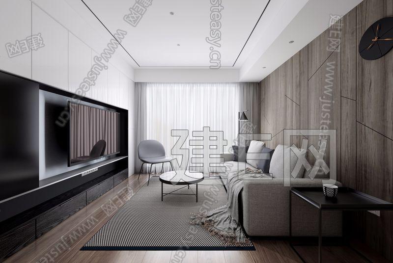 力设计 万家名城 现代客厅3d模型