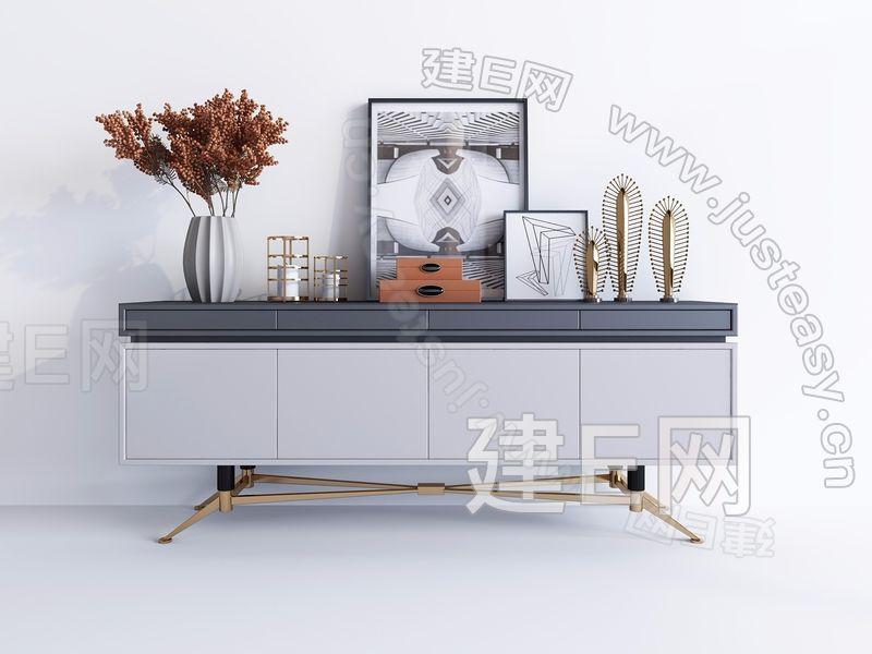 轻奢现代电视柜边柜组合3d模型