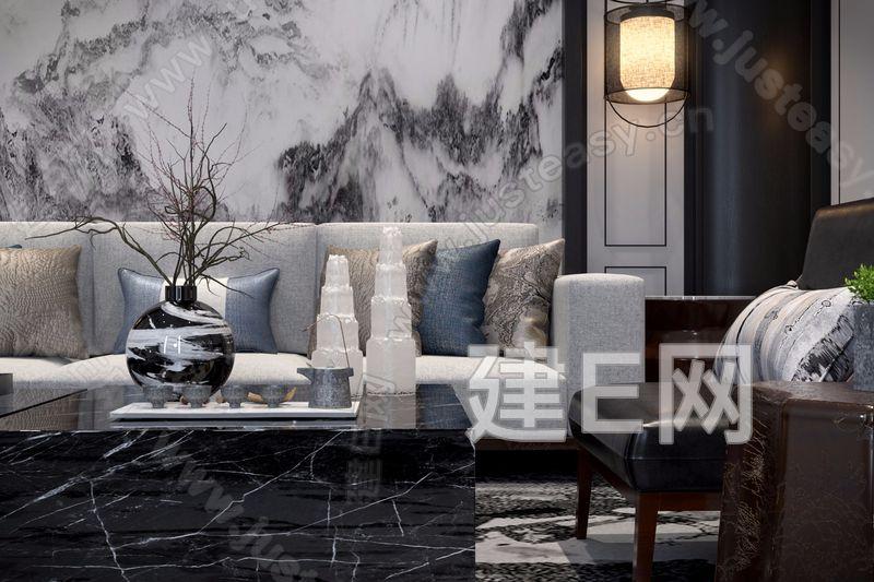奥迅设计 新中式沙发茶几组合3d模型